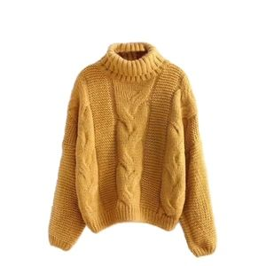 Sweaters - Oversized Turtleneck Cable Knit Sweater in Mustard
